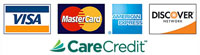 We accept Visa, Mastercard, American Express, Discover, and CareCredit.